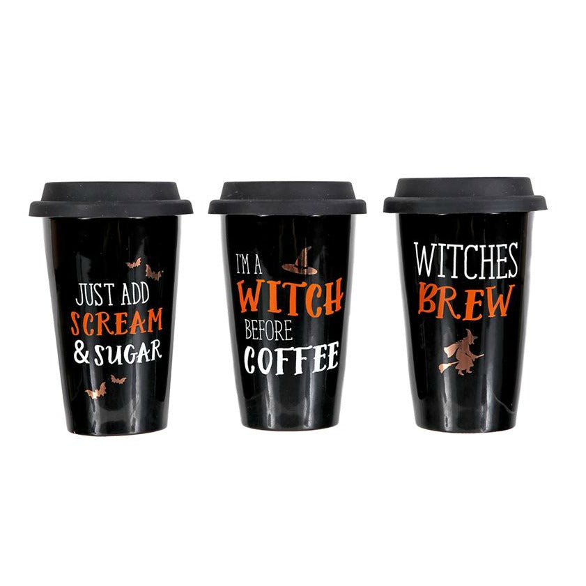 Witch Halloween Travel Mug - Gold Accent