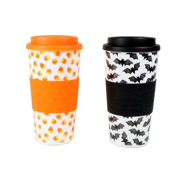 Large 18 oz. Halloween Travel Tumbler - Bats & Candy Corn