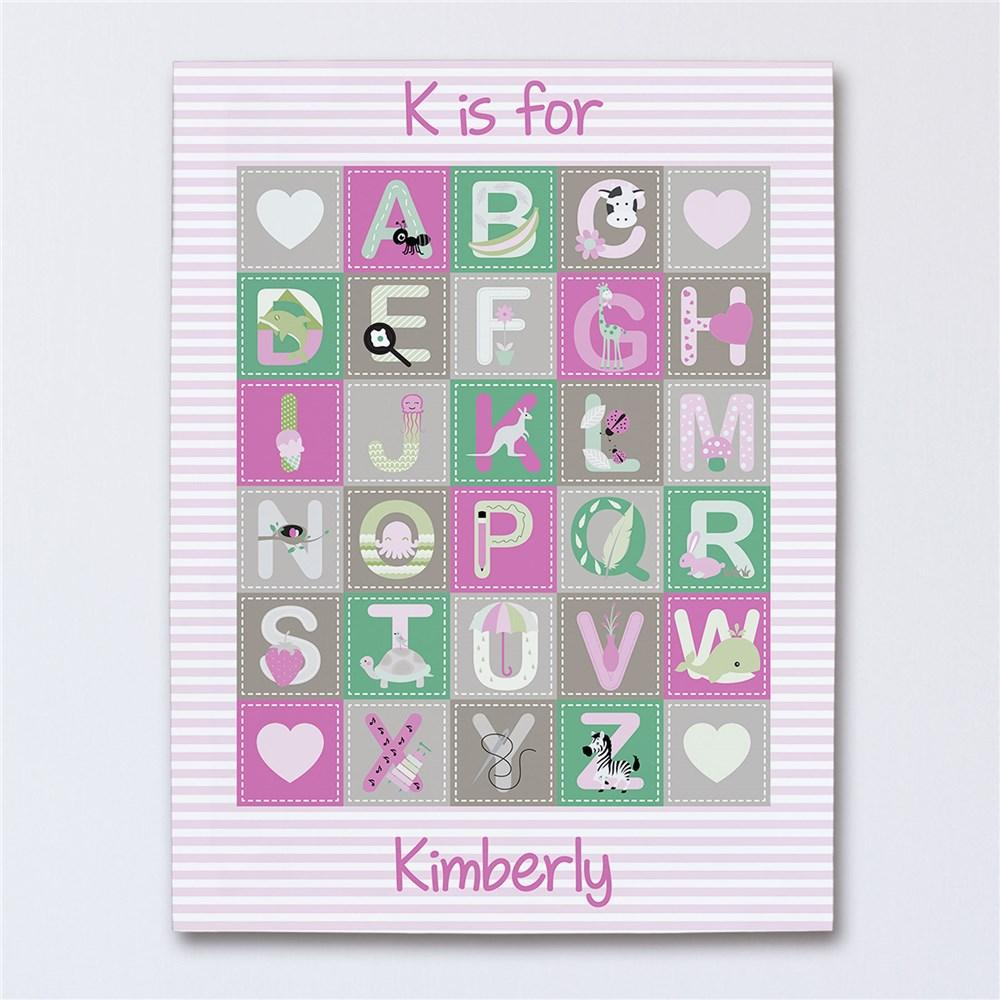 Personalized Alphabet Baby Girl Canvas