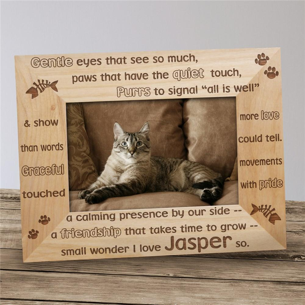 Personalized Gentle Kitty Wood Picture Frame
