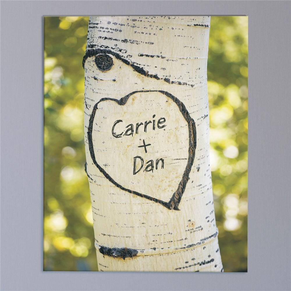 Personalized Names Carved In A Tree Photo Canvas Wall Art