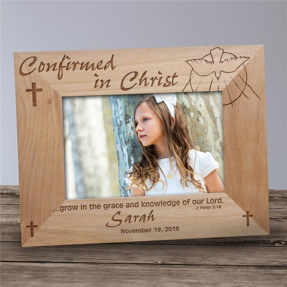 Personalized Engraved Confirmation Wood Picture Frame