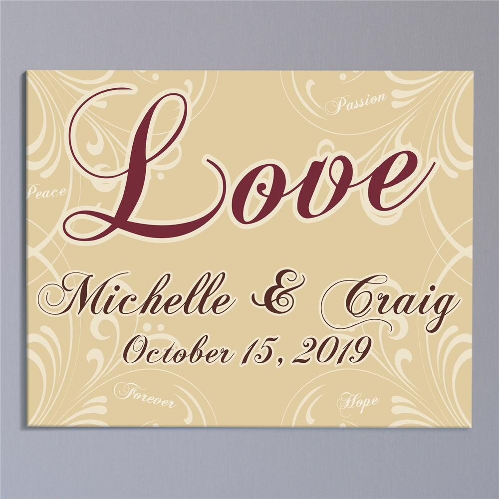 Personalized Love Wall Canvas Print - Valentine's Day Gift