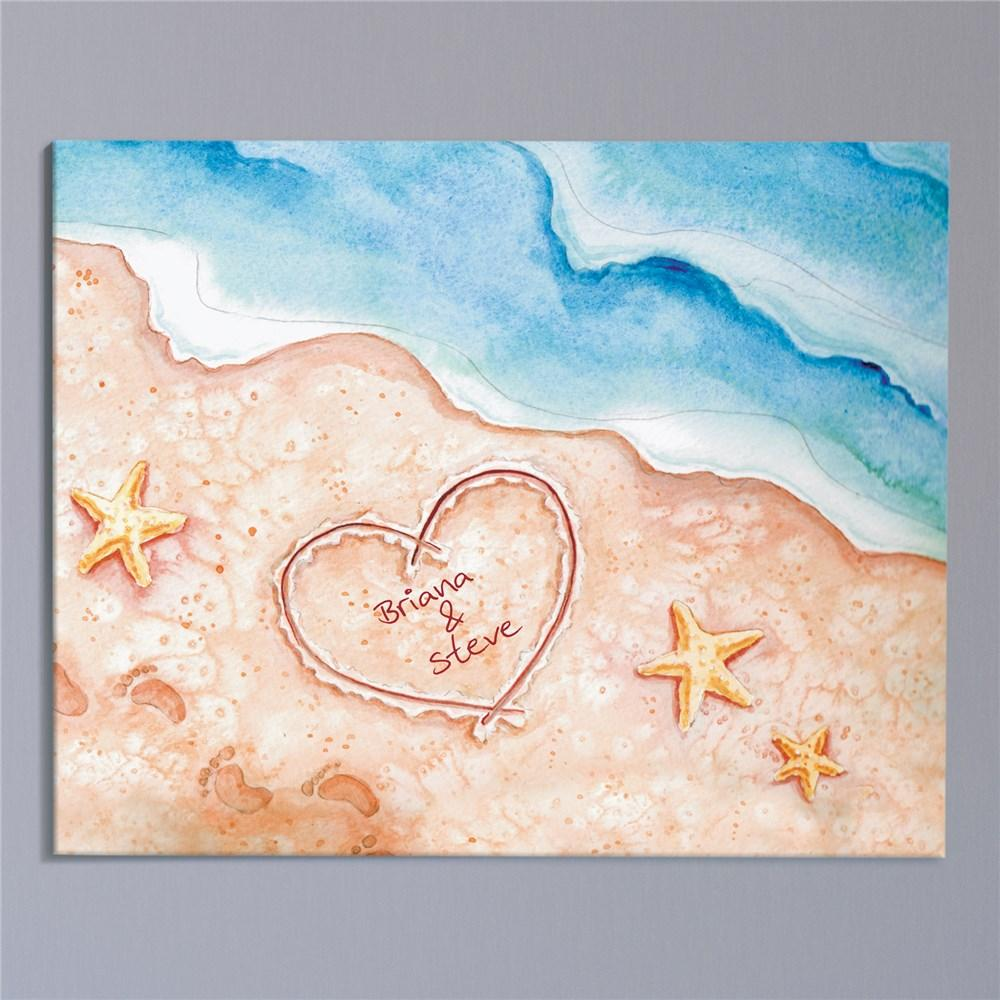 Personalized Shores Of Love Canvas Wall Art