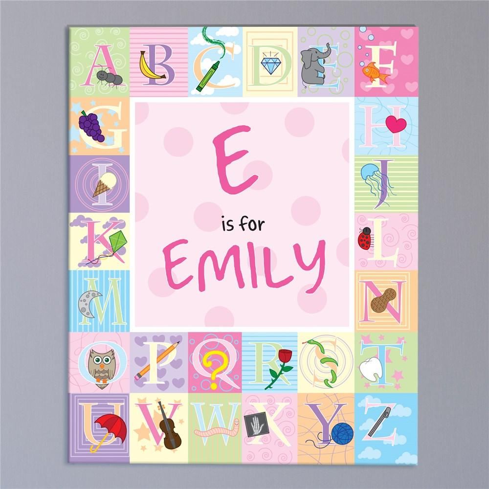 Personalized Alphabet Girl Canvas