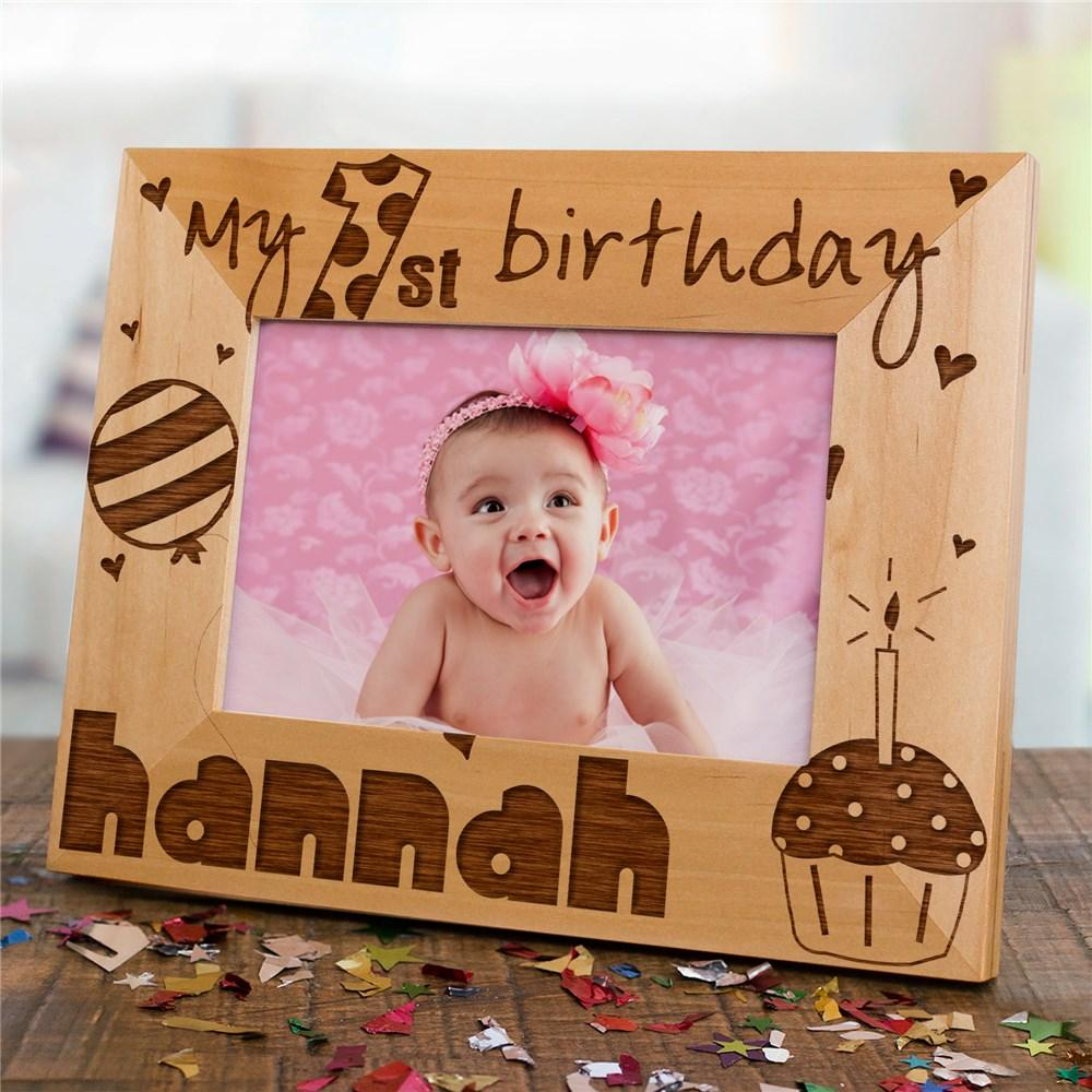 Personalized Baby Girl's 1st Birthday Wood Picture Frame