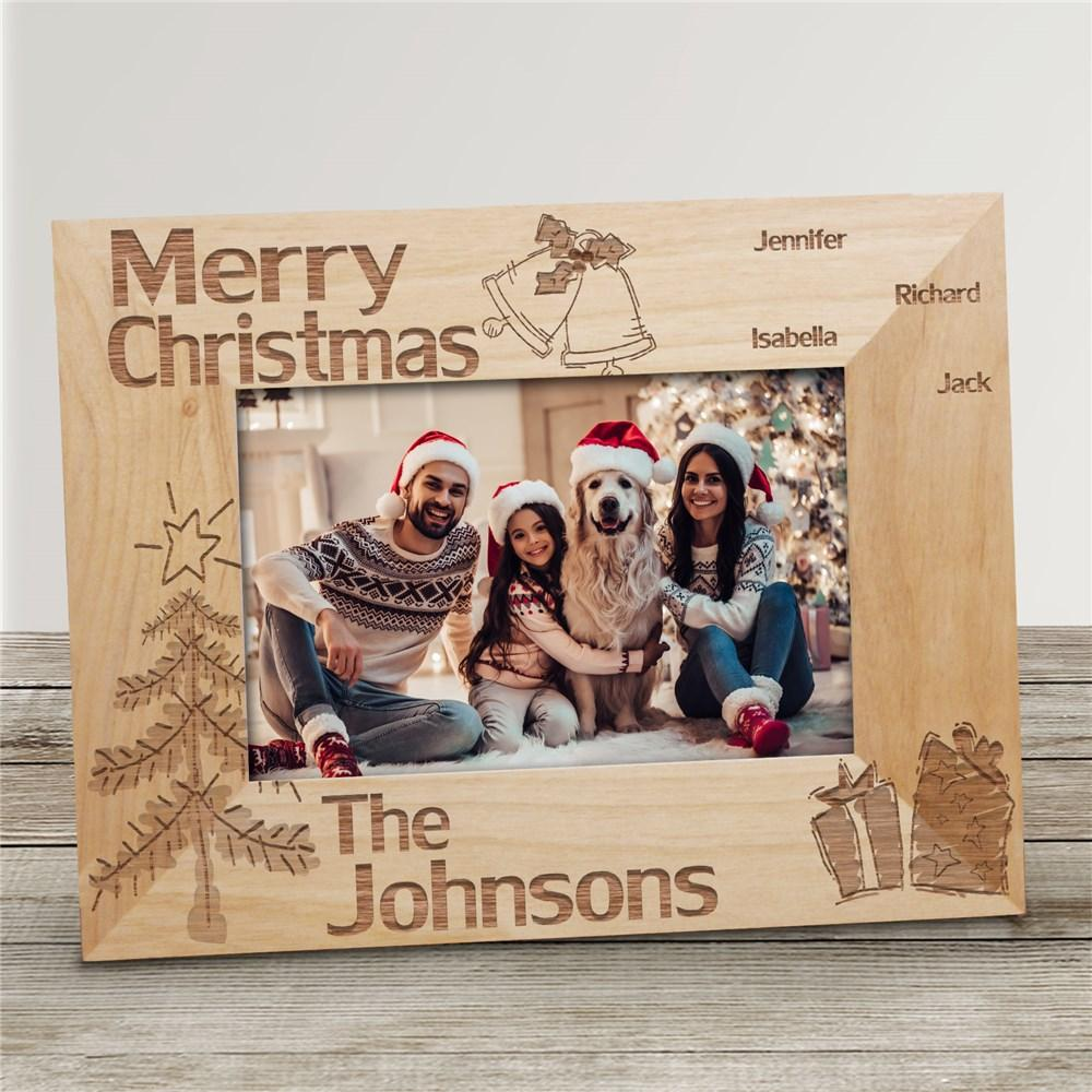 Personalized Family Christmas Wood Picture Frame