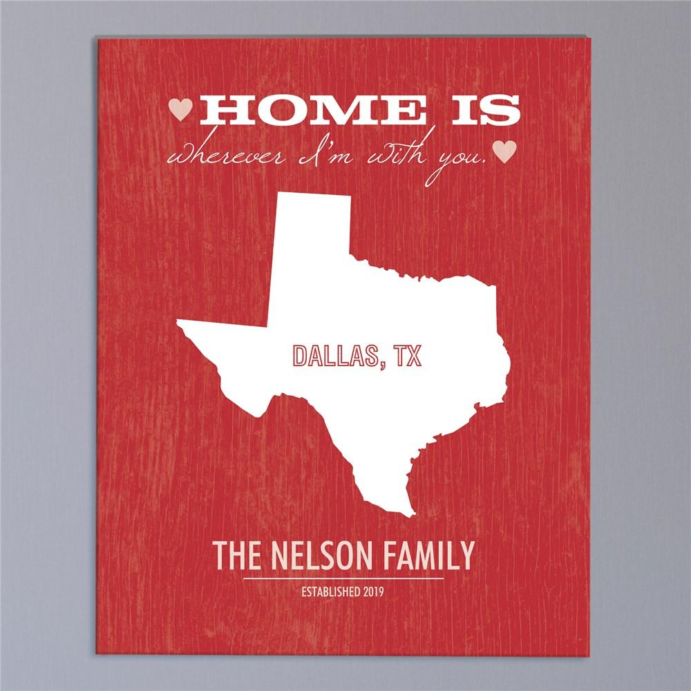 Personalized Home State Wall Canvas
