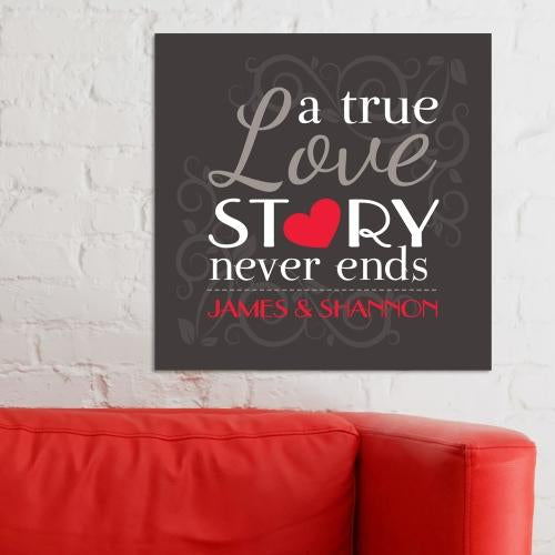 Personalized A True Love Story Wall Canvas