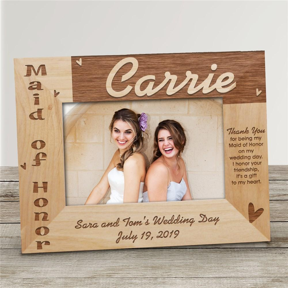 Personalized Maid Of Honor Wood Picture Frame