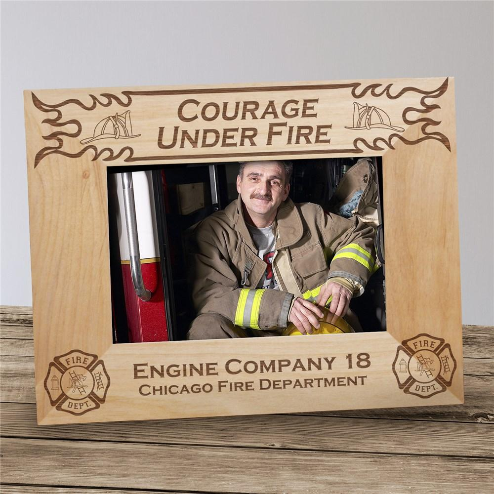 Personalized Fire Department Wood Picture Frame