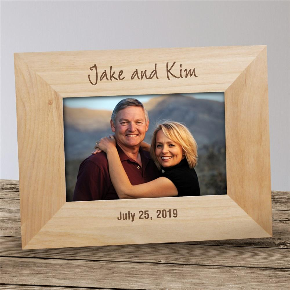 Personalized Couple's Engraved Wood Frame