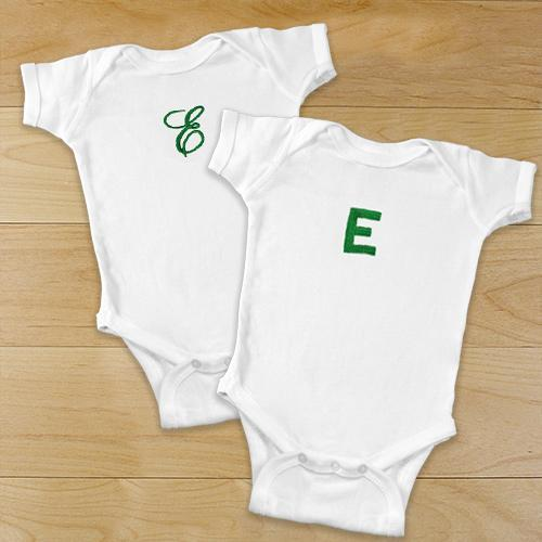 Personalized Name Or Initial Embroidered Infant Bodysuit