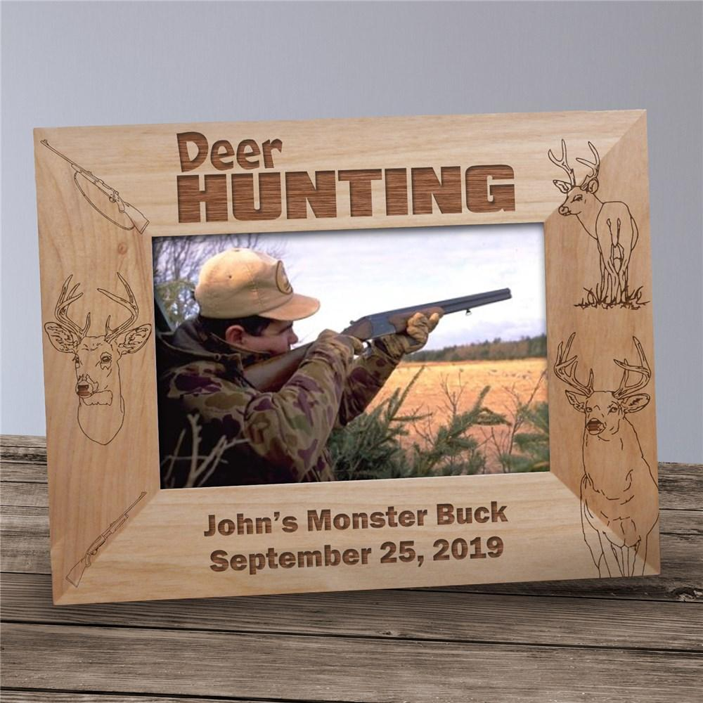 Personalized Engraved Deer Hunting Wood Picture Frame