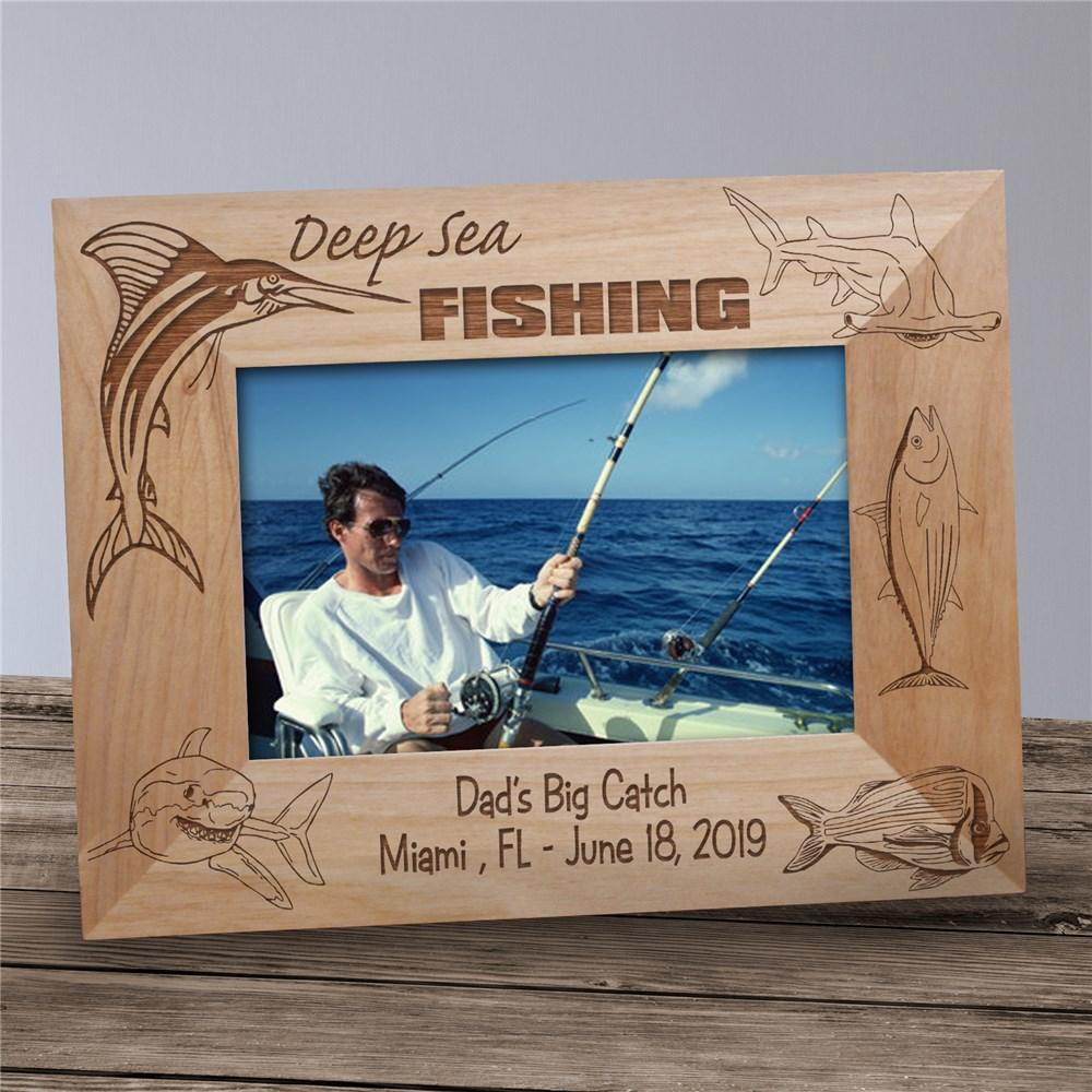 Personalized Engraved Deep Sea Fishing Wood Picture Frame