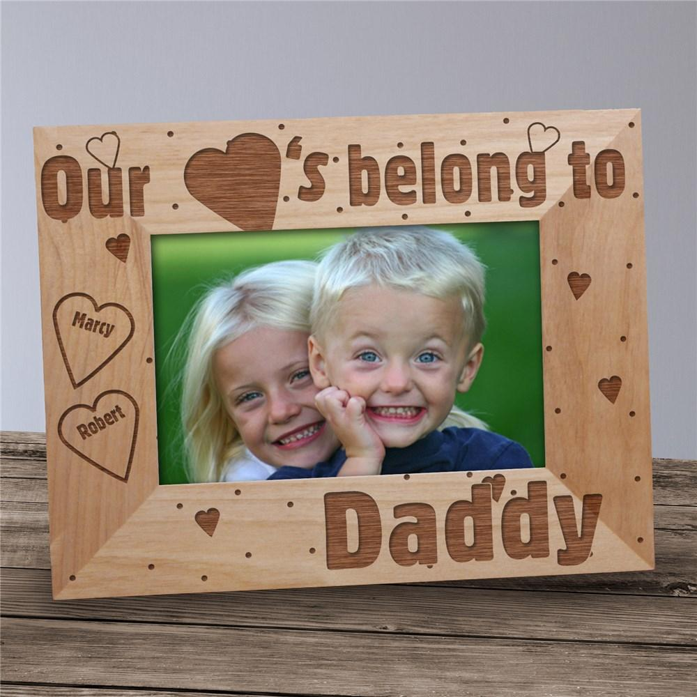 Personalized Engraved Our Hearts Belong To Daddy Frame