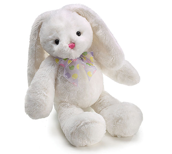 Large Plush White Easter Bunny with Sheer Easter Egg Bow