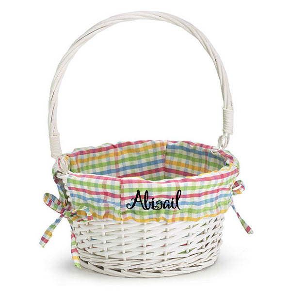 Personalized Kids Easter Basket - White Willow - Plaid Liner