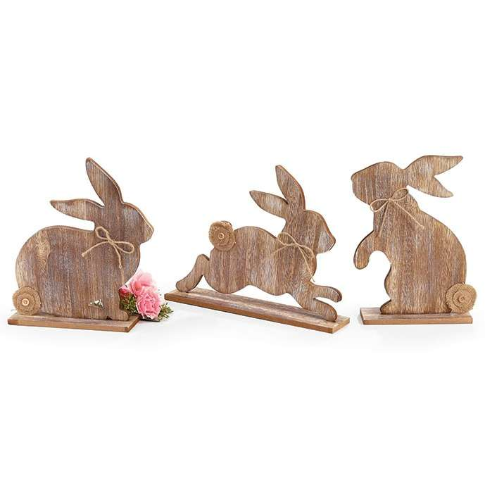 Easter Bunny Silhouette - Distressed Wood Shelf Sitter