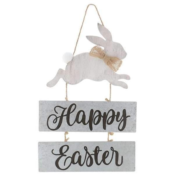 "13"" Happy Easter - Distressed Bunny Hanging Sign"