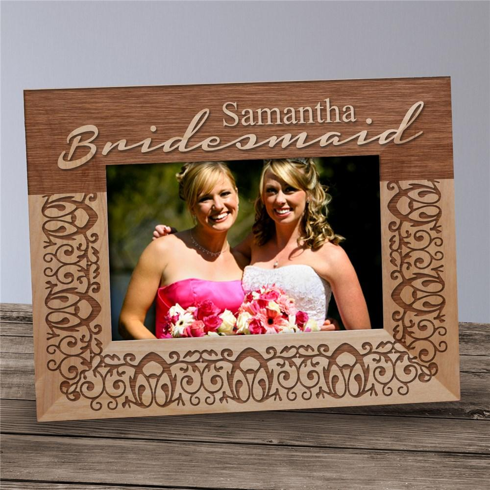 Personalized Engraved Bridesmaid Wood Picture Frame