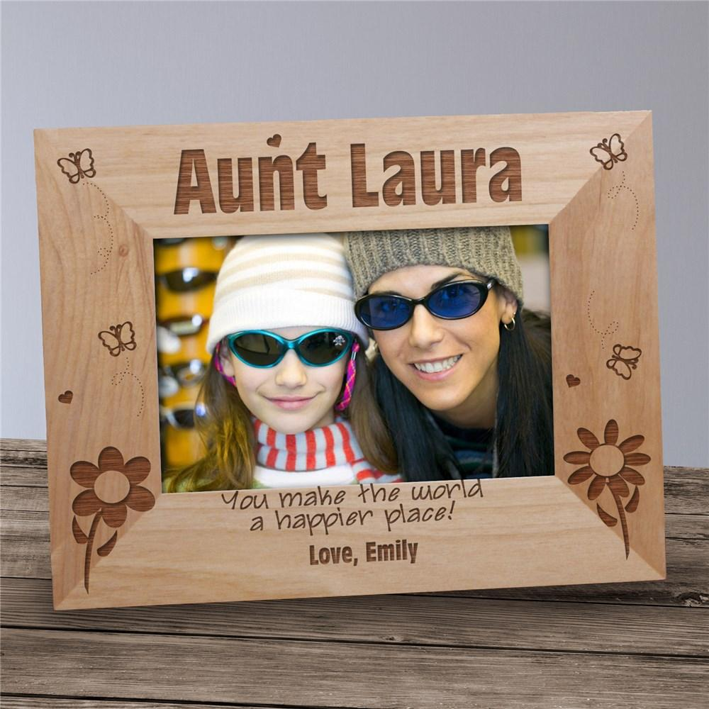Personalized Engraved Aunt Happier Place Wood Picture Frame