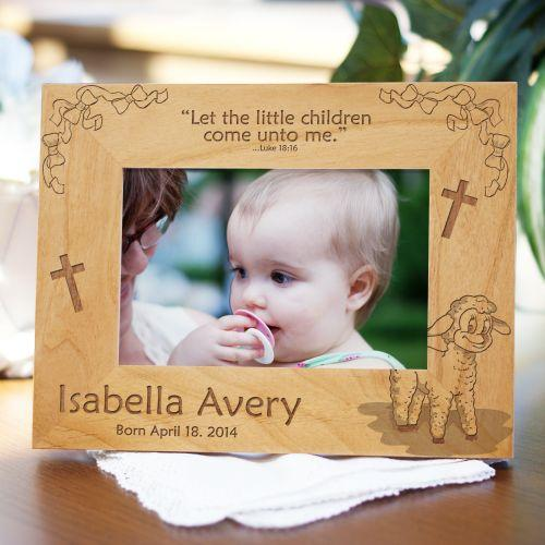 Personalized Engraved Little Lamb New Baby Wood Picture Frame