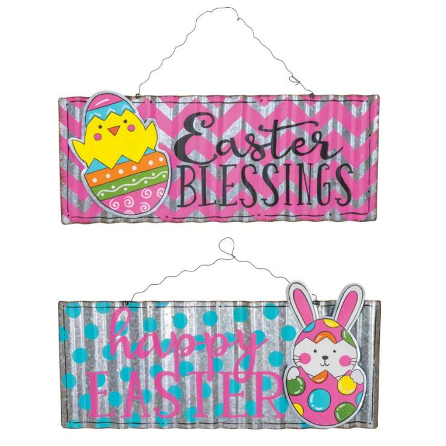Metal Happy Easter Blessings Signs - Hanging Easter Decoration