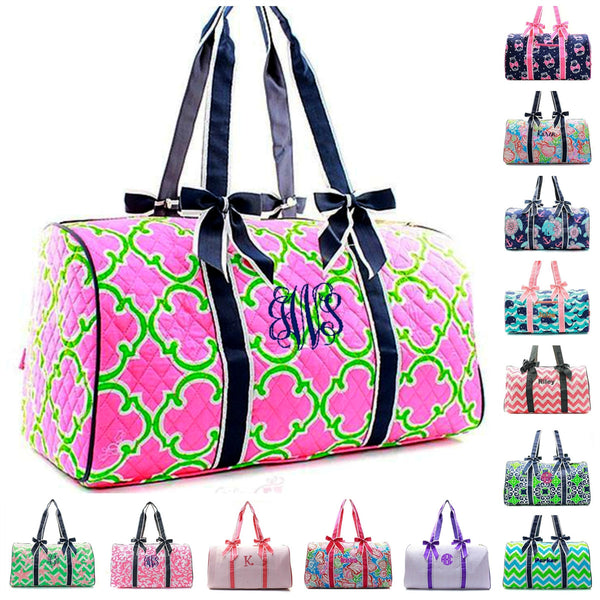 "Personalized Quilted Duffle Bag 21"" Weekender Tote - Gifts Happen Here - 1"