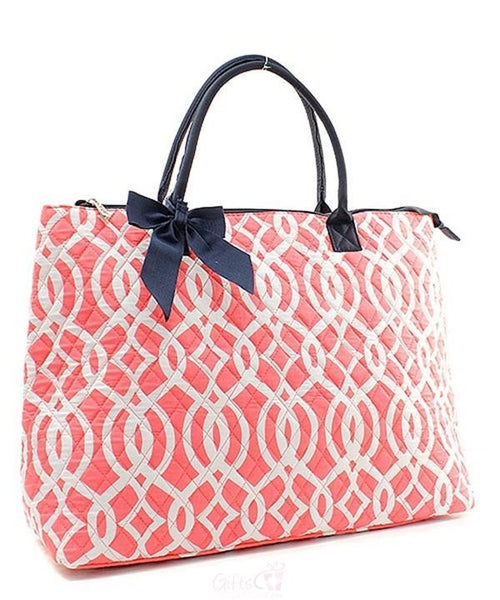 "Personalized Large Quilted Tote Bag 21"" Laptop Travel - Gifts Happen Here - 104"