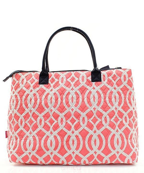 "Personalized Large Quilted Tote Bag 21"" Laptop Travel - Gifts Happen Here - 106"