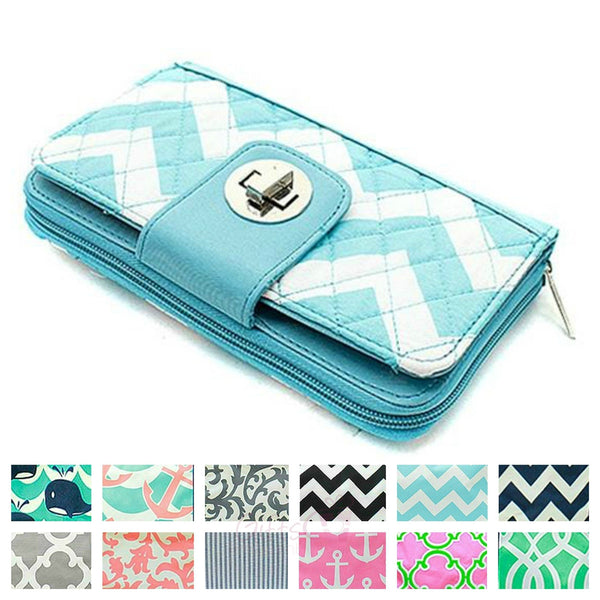 Quilted Wallet Turn Lock Organizing Checkbook Card - Gifts Happen Here - 1