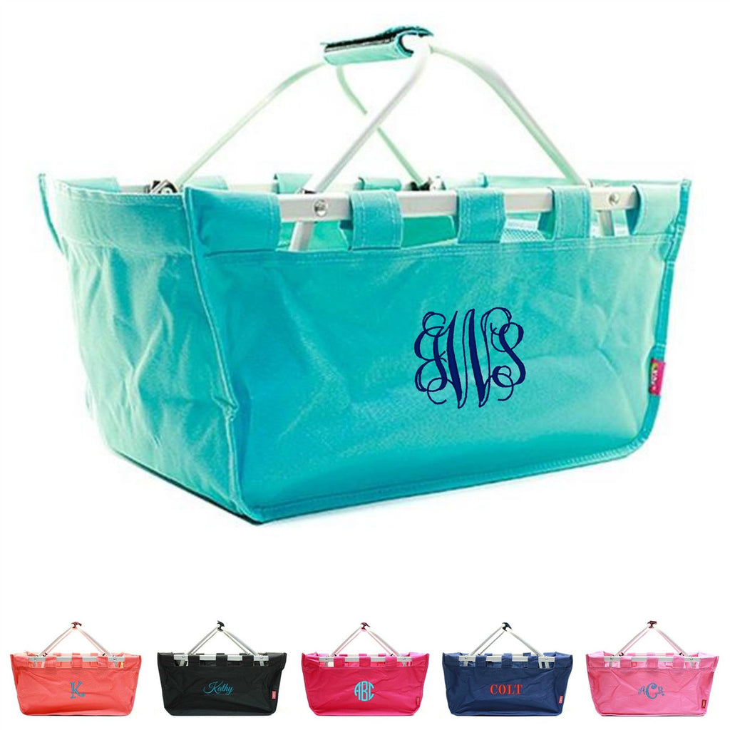 "Personalized 18"" Large Market Utility Tote Basket - Gifts Happen Here - 1"