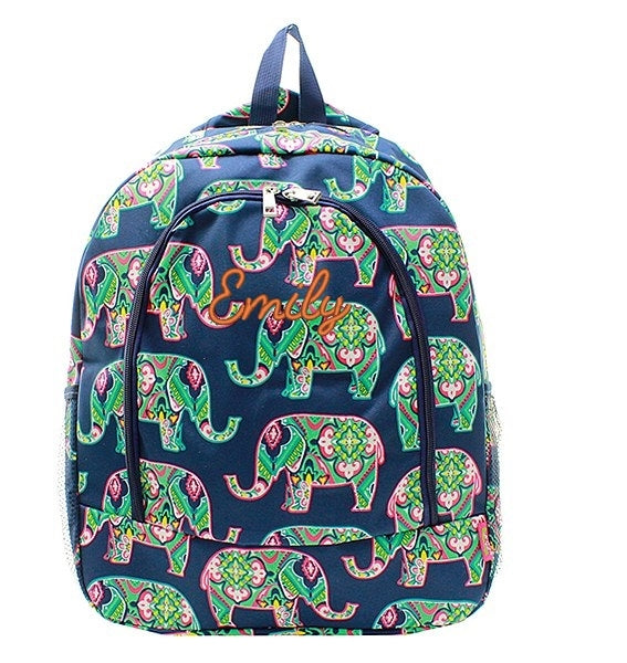 "Personalized Elephant Moroccan 17"" Full Size Backpack - Gifts Happen Here - 1"