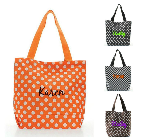 Personalized Halloween Trick or Treat Candy Bag Black Orange White - Gifts Happen Here - 1
