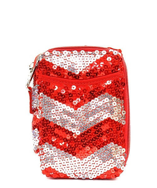 Chevron Sequin Wristlet Wallet - Gifts Happen Here
