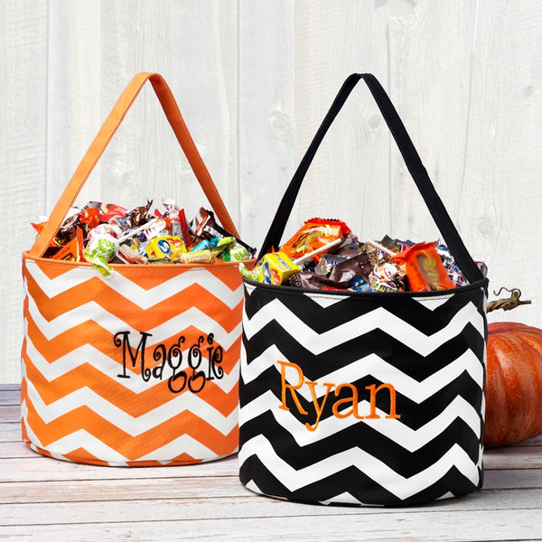 Personalized Kids Halloween Trick or Treating Bag Bucket Candy Tote - Gifts Happen Here - 1