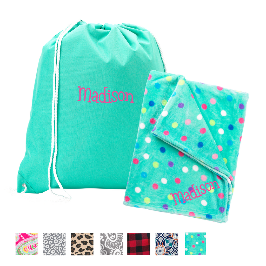 Cozy on the Go Gift Set - Monogrammed Blanket & Drawstring Backpack