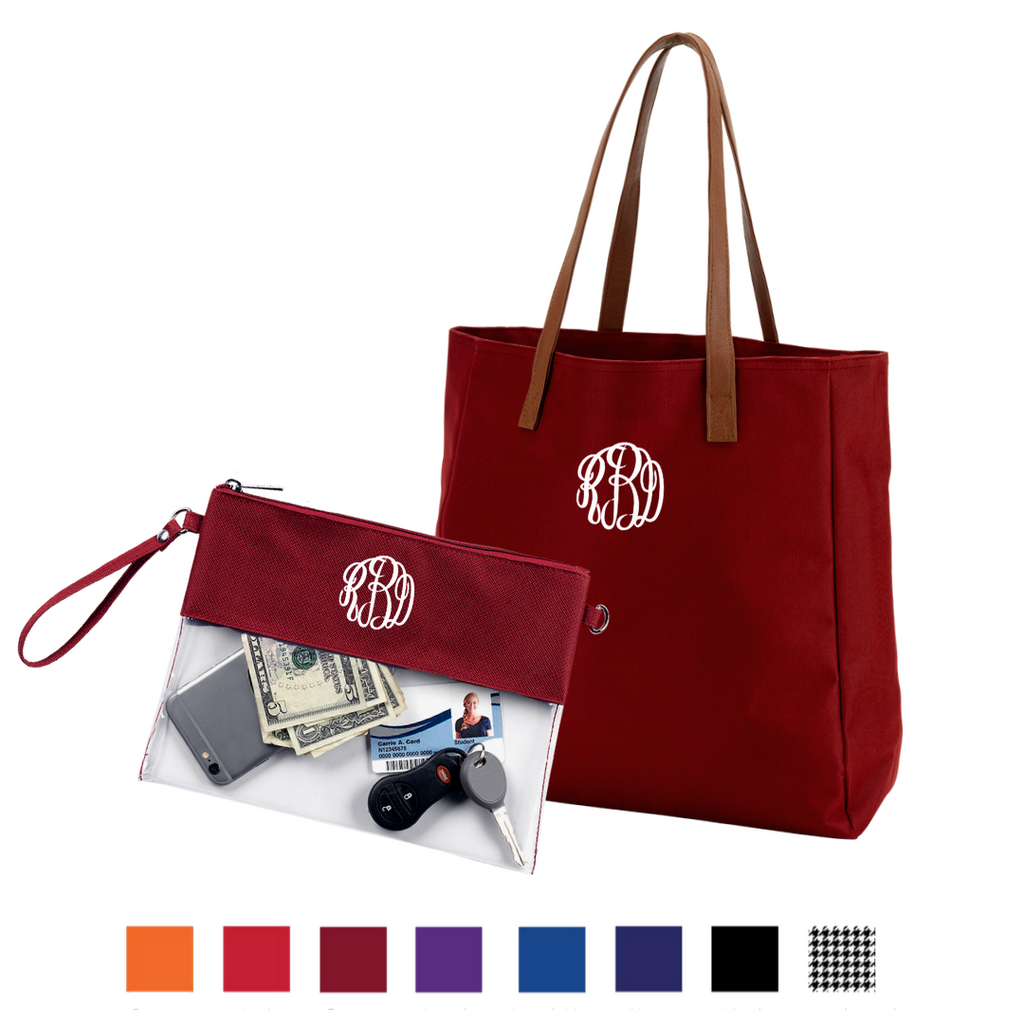 Super Sports Fan Gift Set - Monogrammed Clear Crossbody & Matching Tote Bag