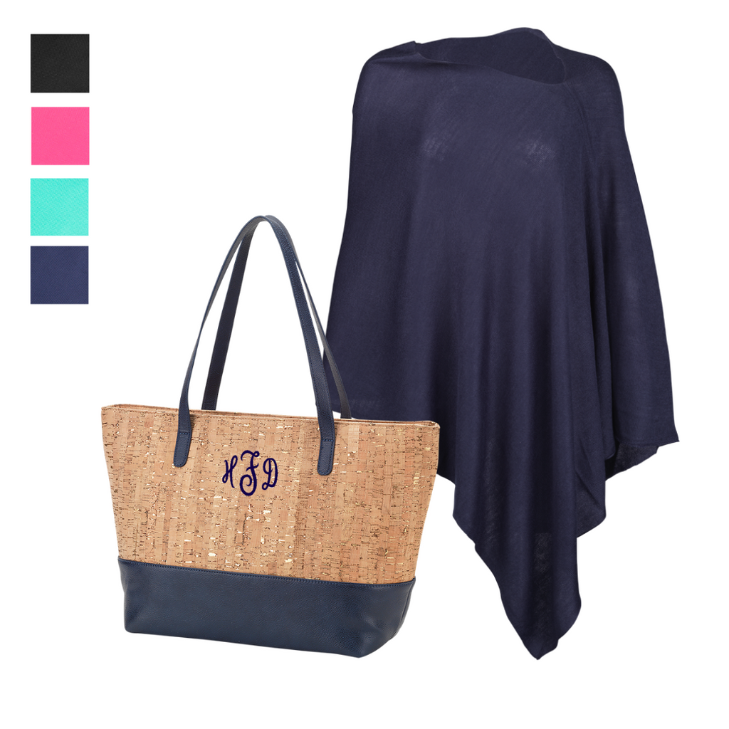 Fabulous to Go Gift Set - Monogrammed Cork Purse & Matching Pashmina Poncho