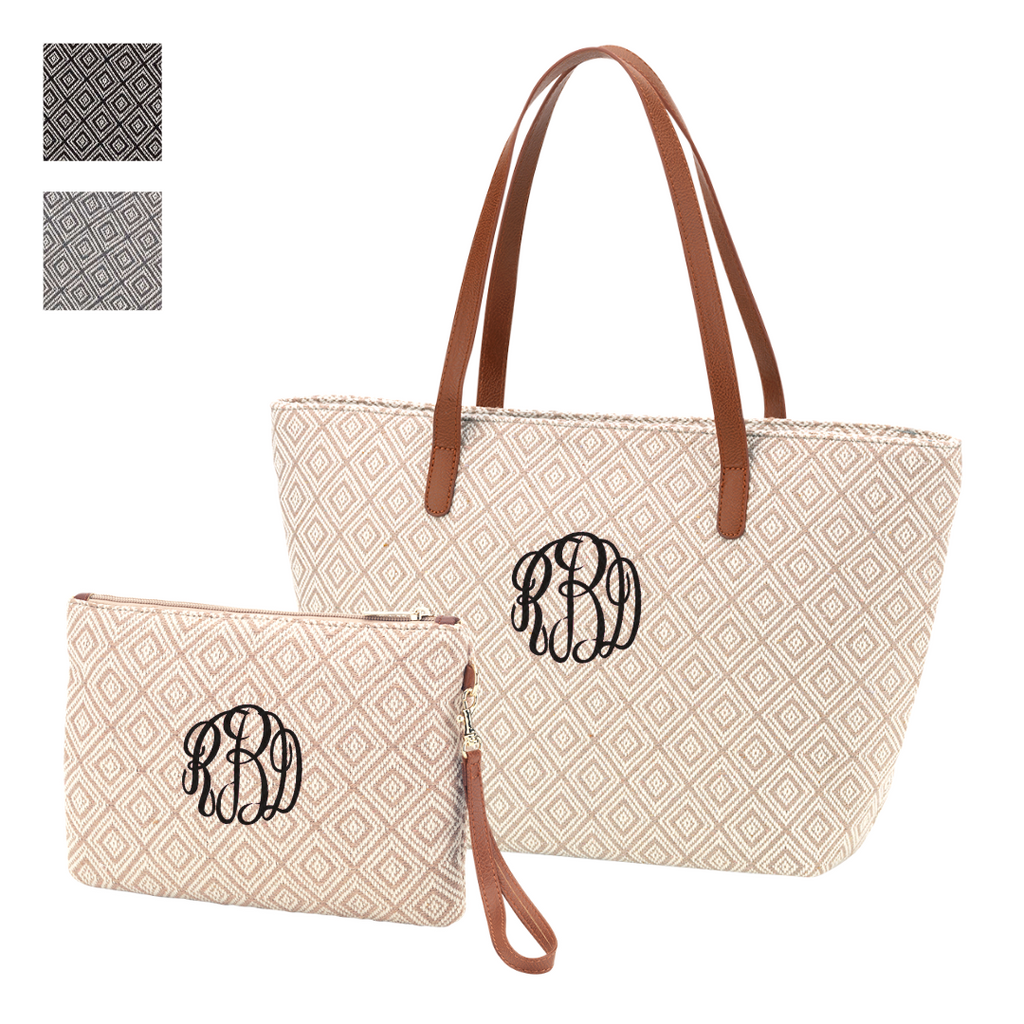 Sophisticated Style Gift Set - Monogrammed Diamond Handbag & Wristet Set