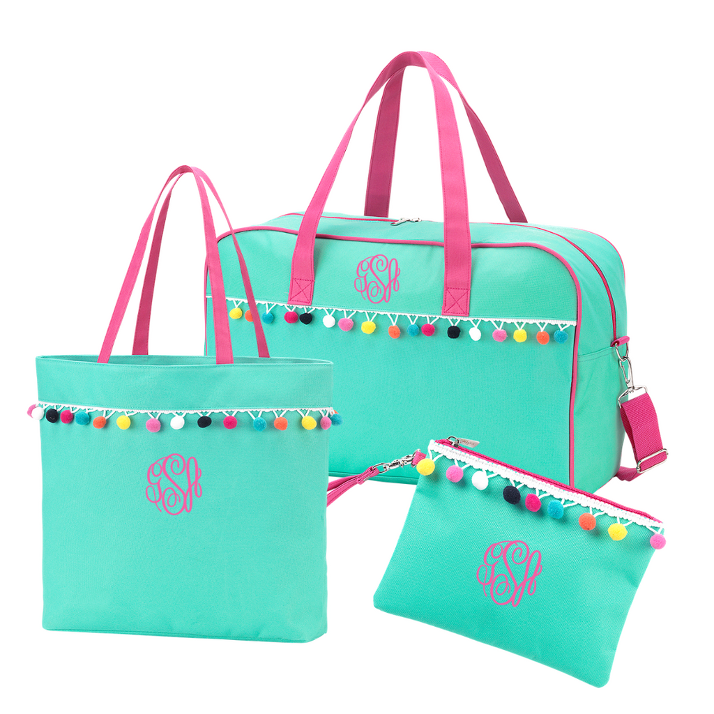 Mint Pom Pom Girls Travel Gift Set - Monogrammed Travel Bag, Tote Bag & Pouch