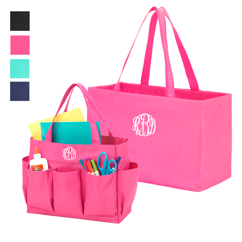 Always on the Go Gift Set - Monogrammed Large Utility Tote & Matching Pocket Tote