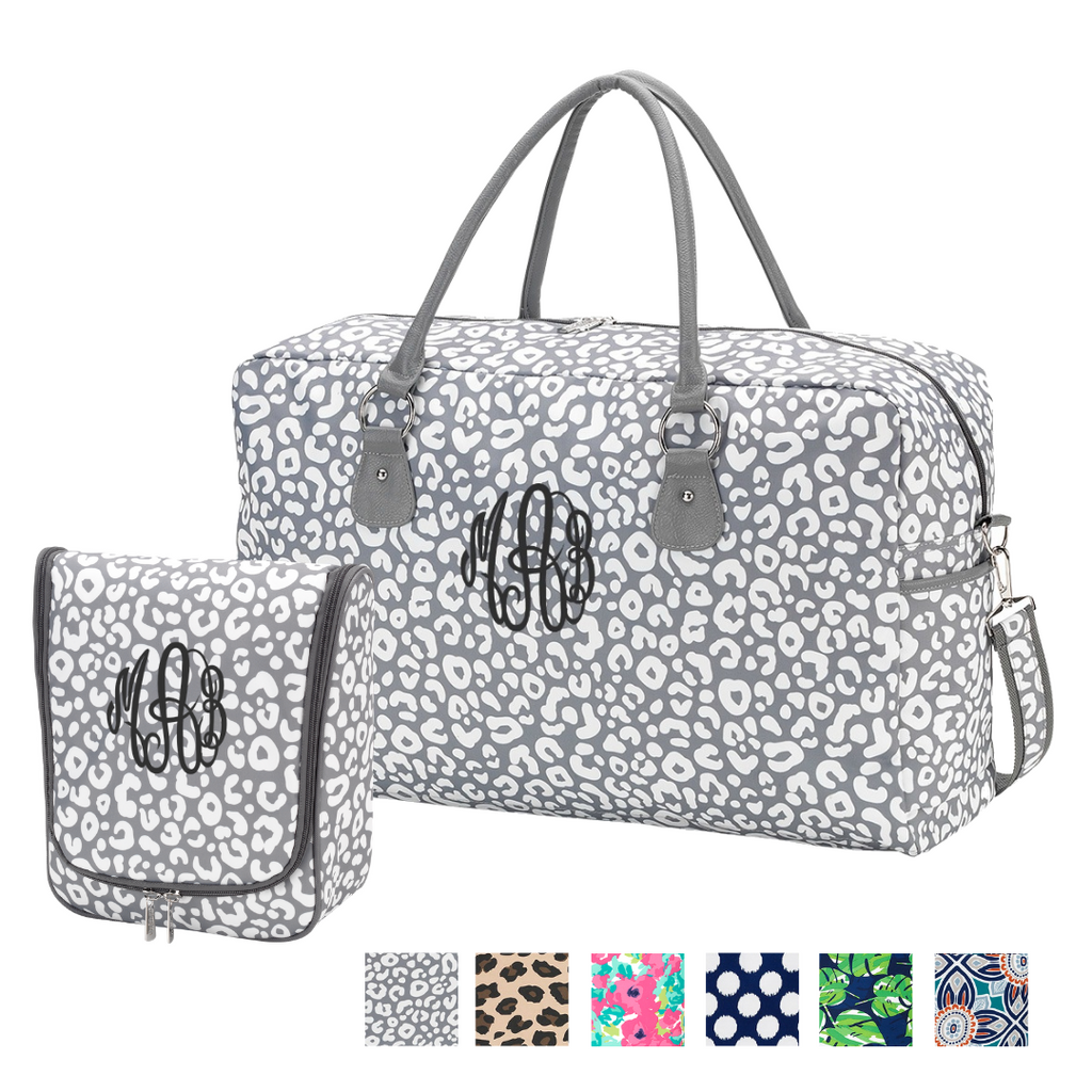 Weekend Warrior Gift Set - Monogrammed Weekender & Hanging Travel Bag Set