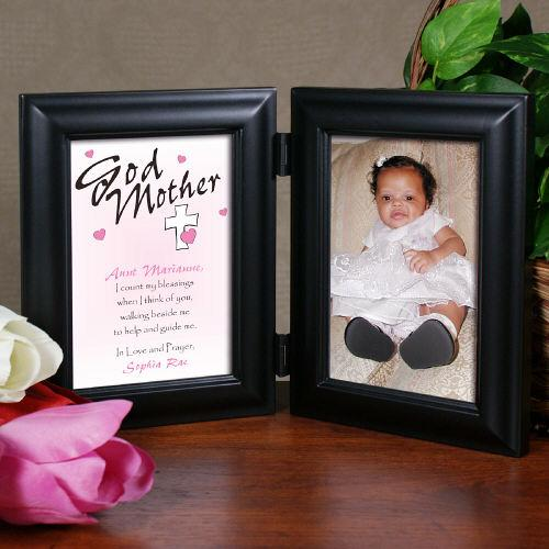 Personalized Count My Blessings Godparent Black Bi-Fold Picture Frame