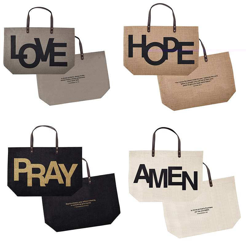 Large Jute Tote Bags with Bible Verses