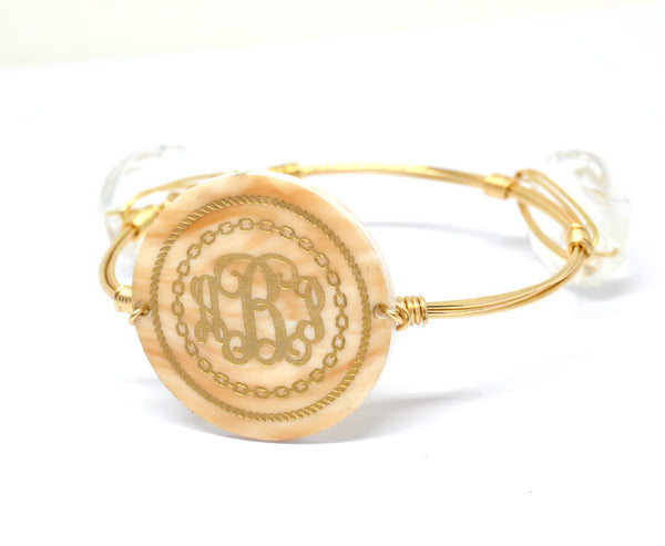 Personalized Bangle Monogram Bracelet Rope Engraved - Gifts Happen Here - 1