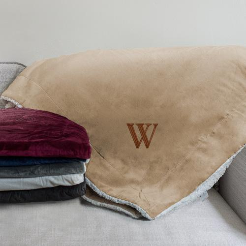 Personalized Embroidered Initial Sherpa Blanket