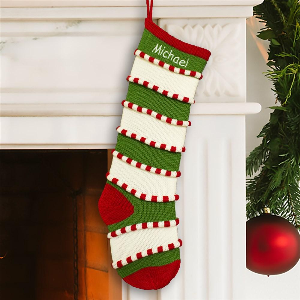 Personalized Embroidered Green Striped Stocking