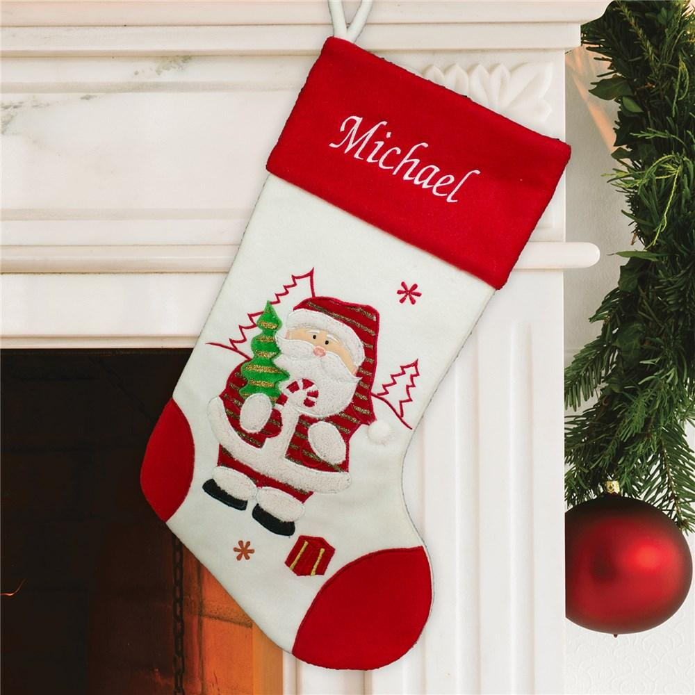 Personalized Embroidered Red And White Santa Stocking